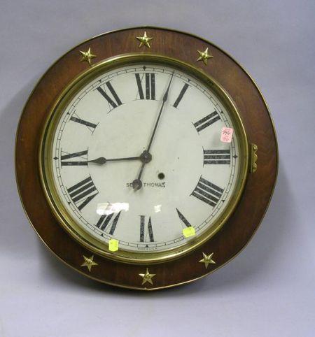 Seth Thomas Mahogany Veneered and Brass Mounted Gallery Clock