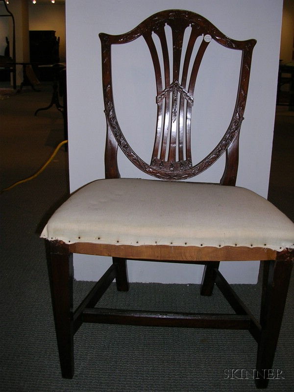 Set of Four Federal Mahogany Carved Shield-back Side Chairs
