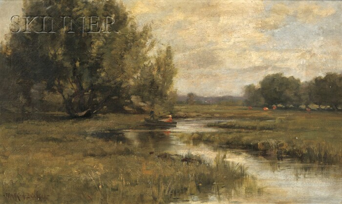 Frank Alfred Bicknell (American, 1866-1943)      Marsh View with Figures in a Punt