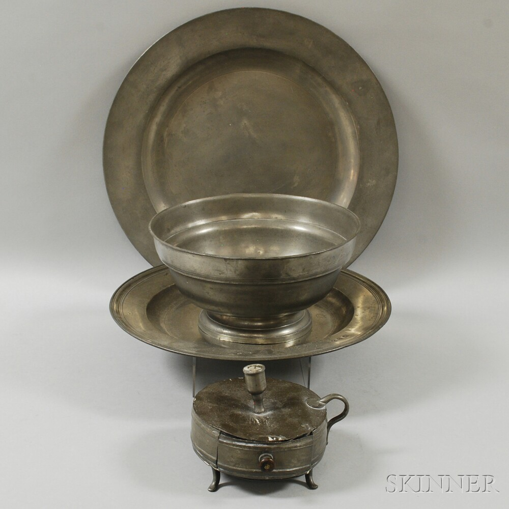 Two Pewter Chargers, a Bowl, and a Chamberstick