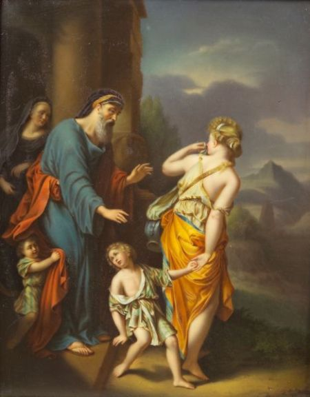 Berlin Painted Porcelain Plaque of the Banishment of Hagar and Ishmael