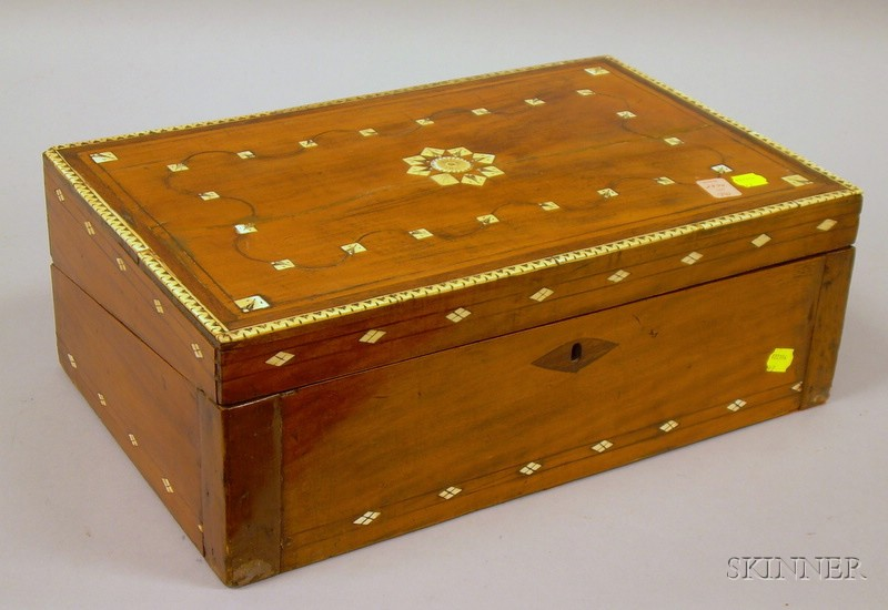 Middle Eastern Bone-inlaid Hardwood Lap Desk.