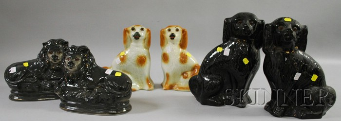 Three Pairs of Staffordshire-style Spaniels and Lions