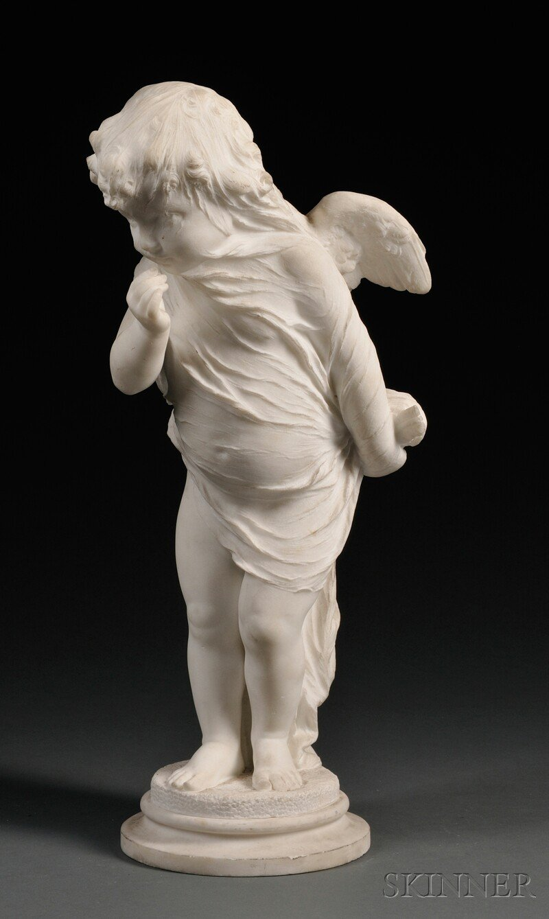Carved White Marble Figure of Cupid