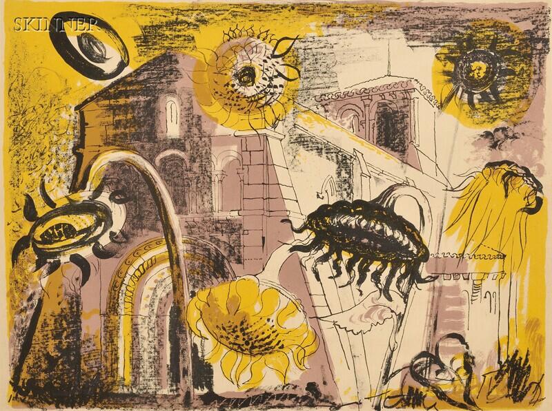 John Piper (British, 1903-1992)      Sunflowers at Marignac