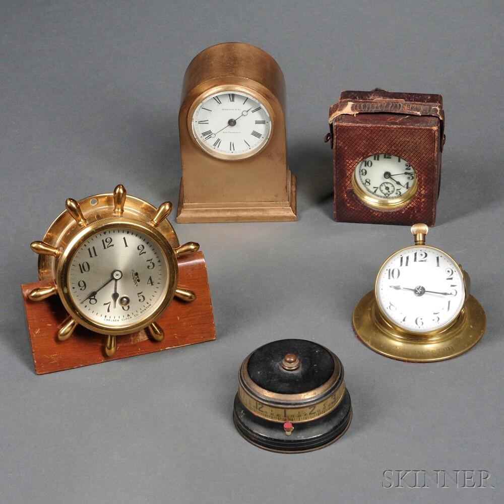 Five Small Brass Clocks