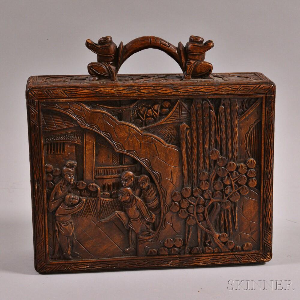 Figural carved hardwood game chip case sale number m