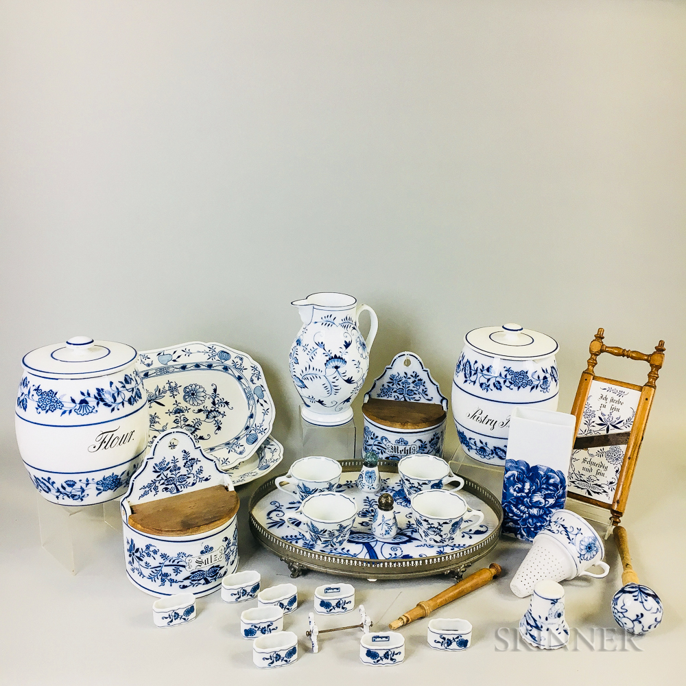 Group of Blue and White Porcelain Kitchen and Tableware Items