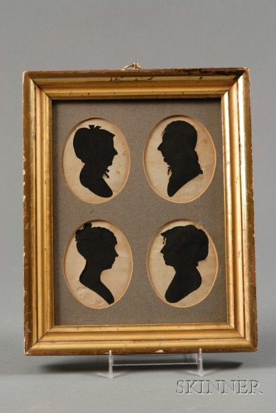 Framed Group of Four Silhouette Portraits