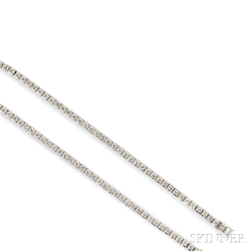 Pair of Platinum and Diamond Line Bracelets