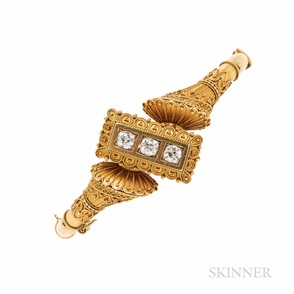 Etruscan Revival Gold and Diamond Bracelet