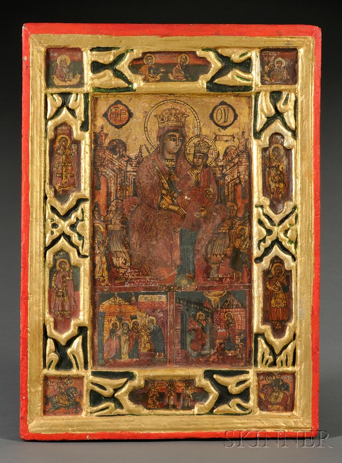 Greek Icon of the Madonna and Child Enthroned