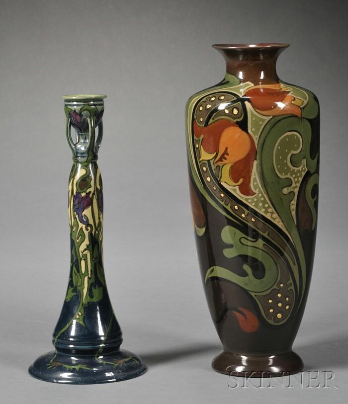 Two Gouda High Glaze Pottery Items