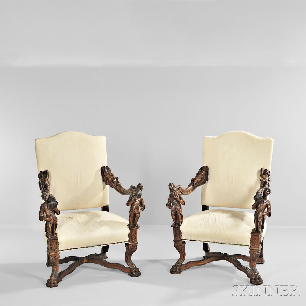 Pair of Italian Baroque-style Walnut Armchairs