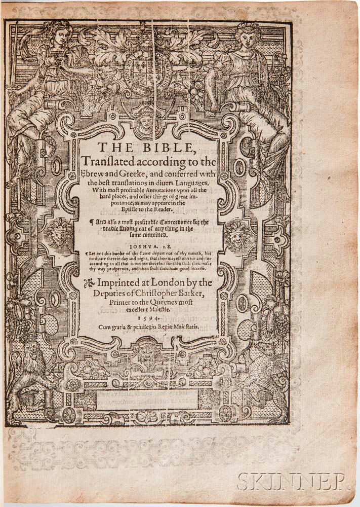 Bible, Book of Common Prayer, Old and New Testament in English. The Bible, Translated according to the Ebrew and Greeke.