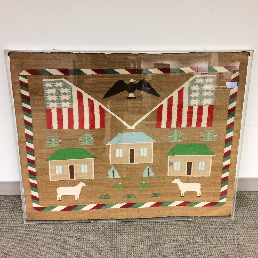 Framed and Mounted Navajo Patriotic Pictorial Weaving