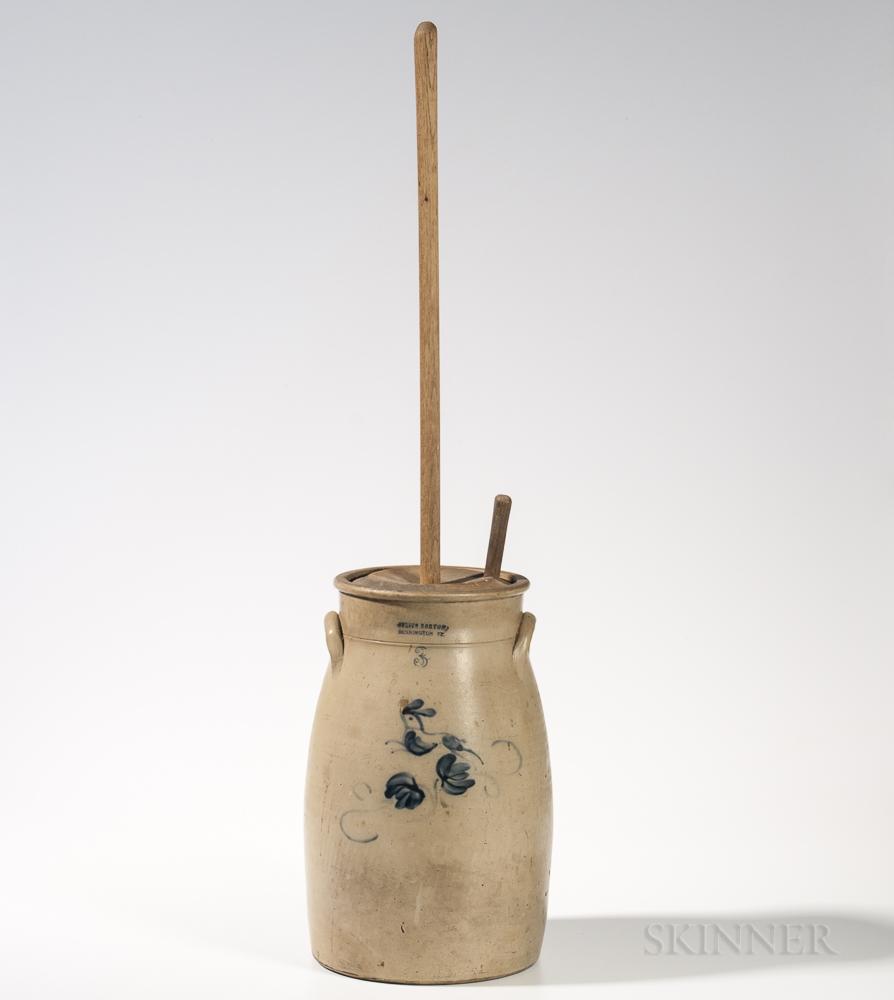 Three-gallon Cobalt-decorated Stoneware Churn