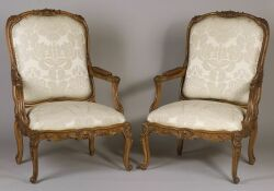 Pair of Regence-style Beechwood Open Armchairs