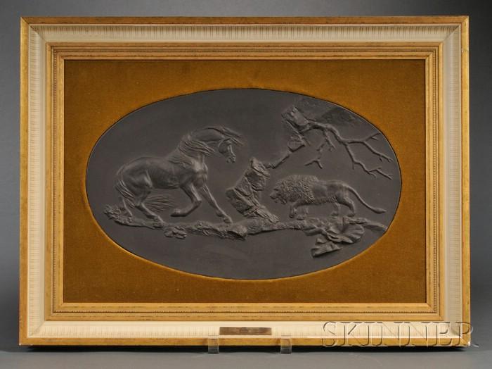 Wedgwood Black Basalt Frightened Horse Plaque