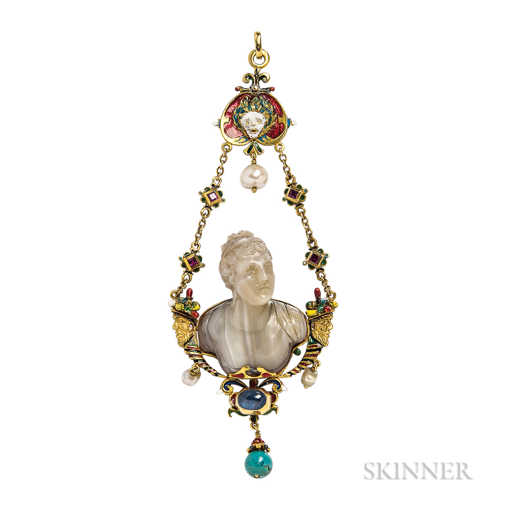 Fine Renaissance Revival Gold Gem-set Pendant