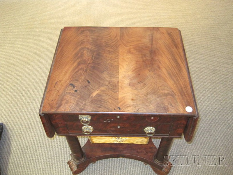 Classical Mahogany Carved and Mahogany Veneer Drop Leaf Work Table