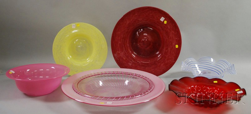 Six Large Modern Art Glass Bowls