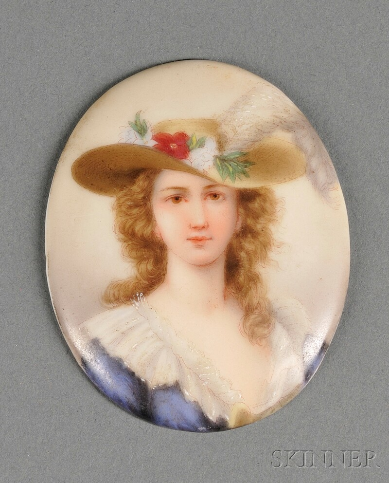 Oval Porcelain Portrait Plaque of Madame Lebrune