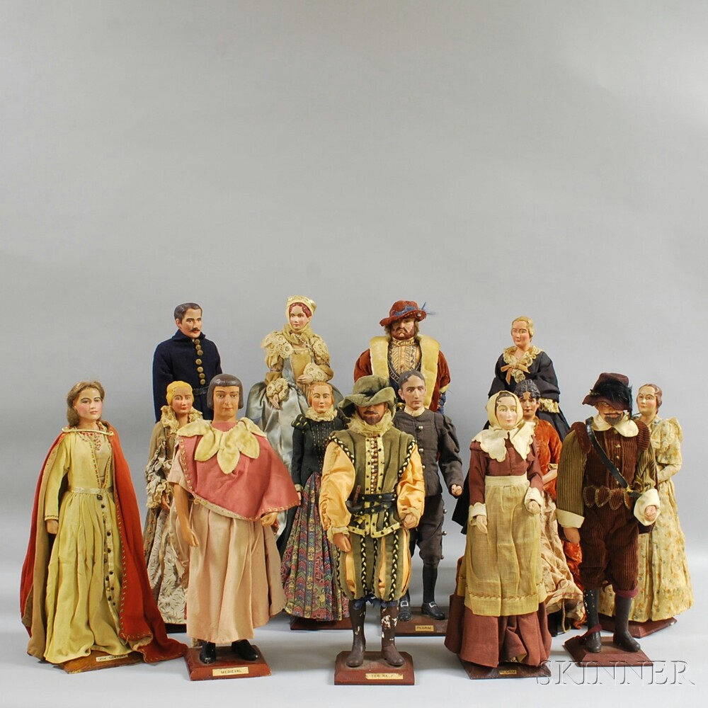 Collection of Fourteen Carved and Polychrome-painted Gesso Historical Costume Dolls