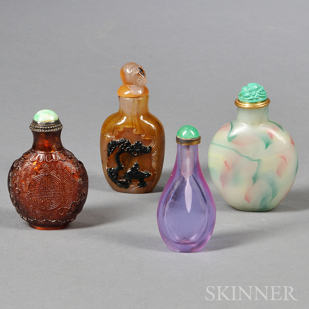Four Glass Snuff Bottles