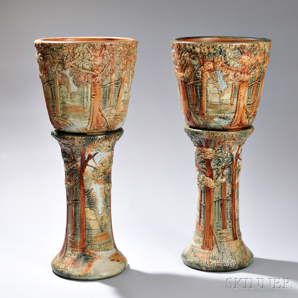 Pair of Weller Forest Pattern Jardinieres and Pedestals