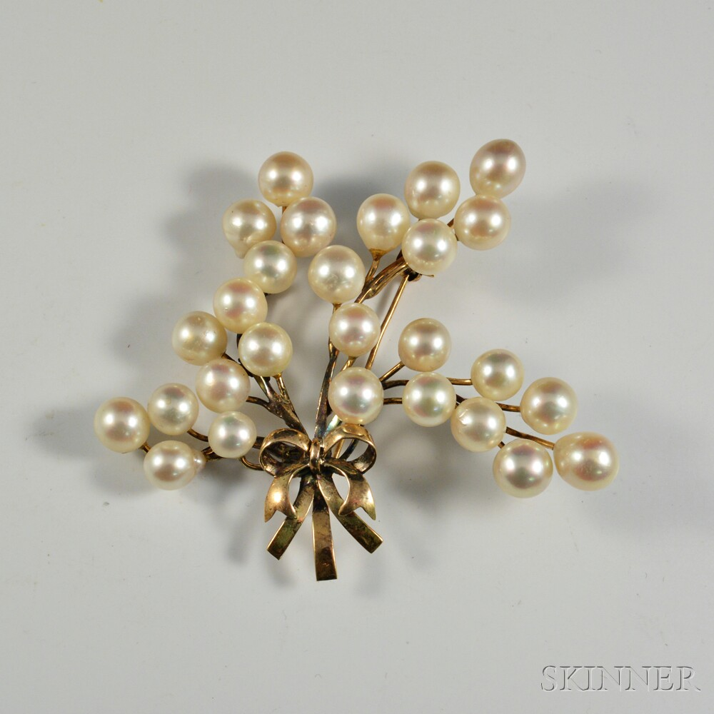 14kt Gold and Cultured Pearl Floral Spray Brooch
