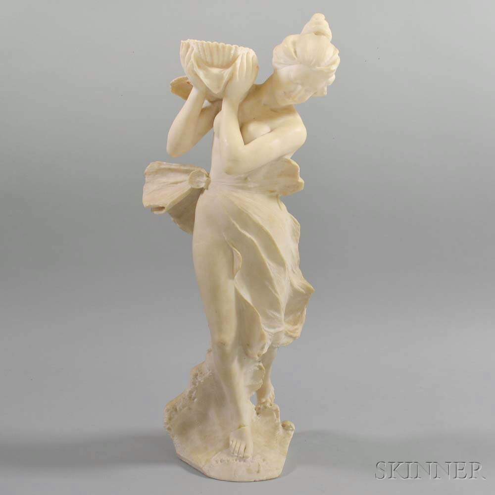 Carved Alabaster Figure of a Classical Maiden