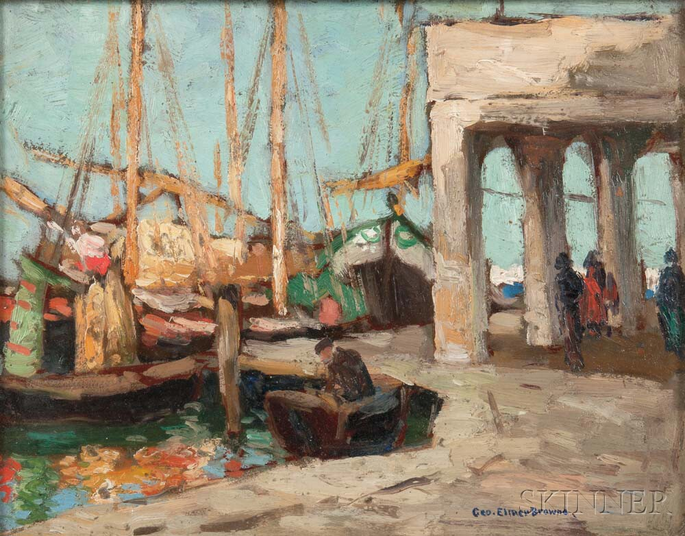 George Elmer Browne (American, 1871-1946)      The Docks, Chioggia, Italy