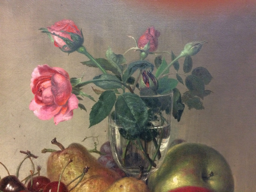 Robert Spear Dunning (American, 1829-1905)      Tabletop Still Life with Fruit and Roses