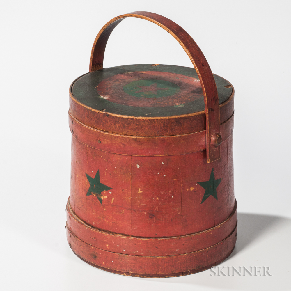 Red-painted and Star-decorated Lidded Pail
