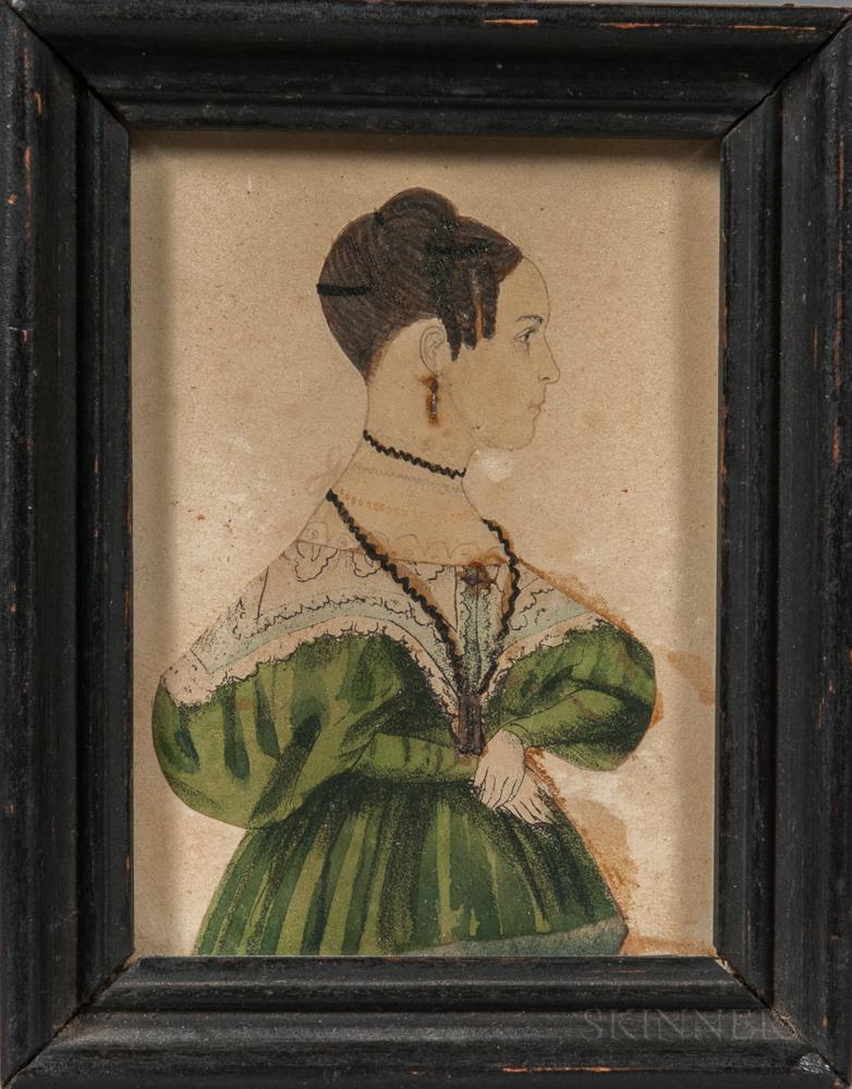 American School, Mid-19th Century      Miniature Portrait of a Woman in a Green Dress