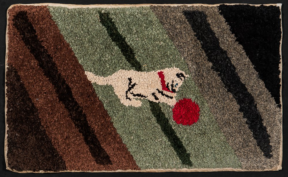 Fabric Rug with a Cat Playing with a Ball of String