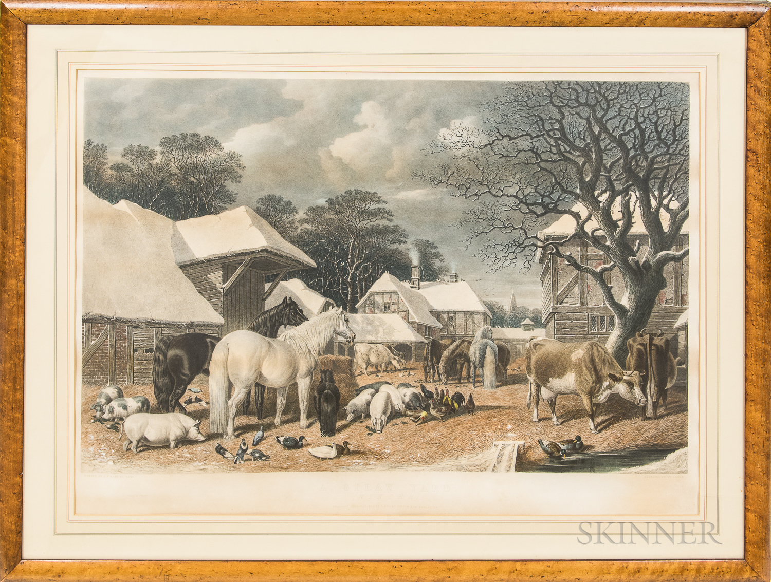 Large Framed William Giller Lithograph A Straw Yard