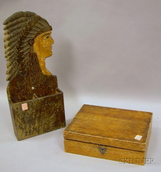 Folk Art Carved Indian Wooden Wall Pocket and a Grain-painted Box.