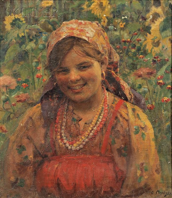 Eastern European School, 20th Century      Portrait of a Girl in a Field of Wildflowers