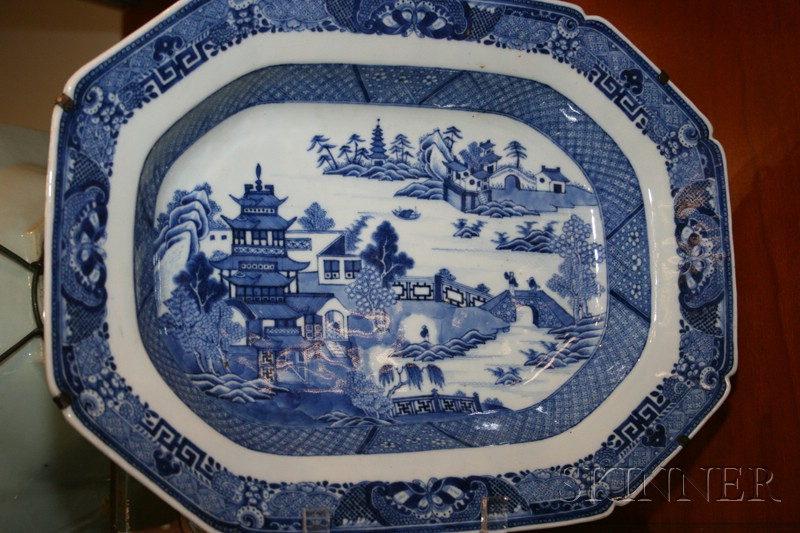 Nanking Porcelain Blue and White Serving Platter