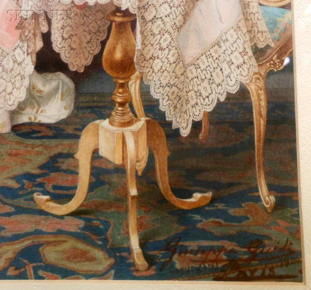 Giuseppe Guidi (Italian, 1884-1931)      A Parlor Amusement  /Game of Bilboquet