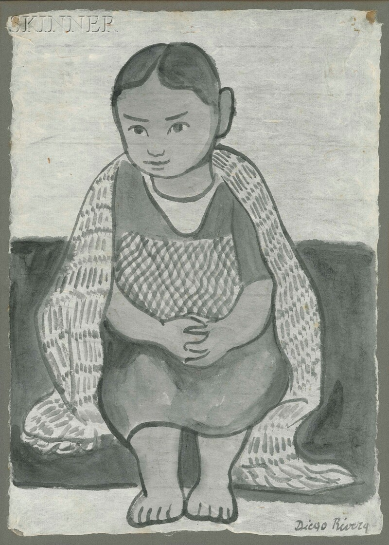 Diego Rivera (Mexican, 1886-1957)      Portrait of a Seated Young Girl