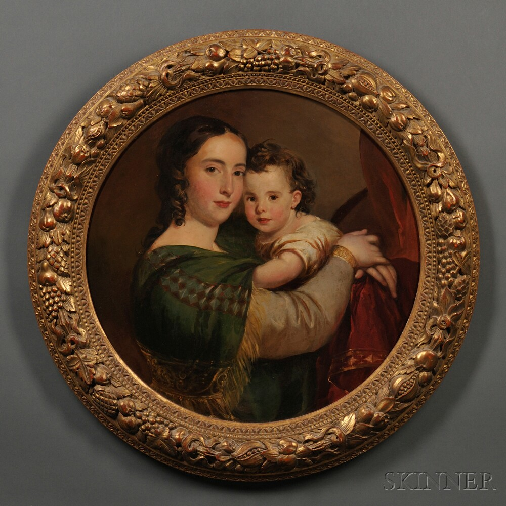 Attributed to Thomas Sully (Pennsylvania/England, 1783-1872)      Portrait of Louisa Catherine Carroll (1809-?) and Her Child.