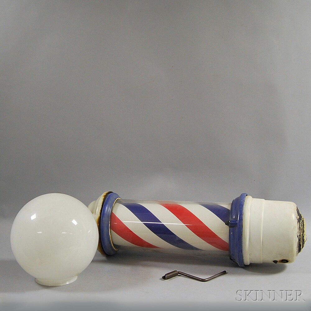 Glass, Ceramic, and Cast Iron Barber Pole