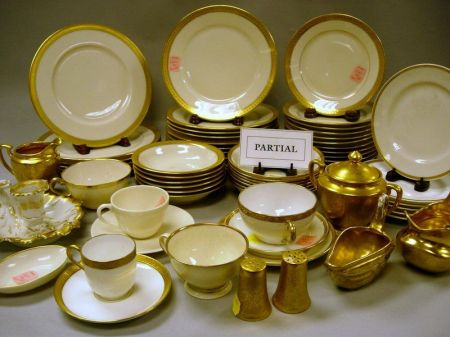 Approximately 128-Piece Assembled Gilt Porcelain Group of Tableware