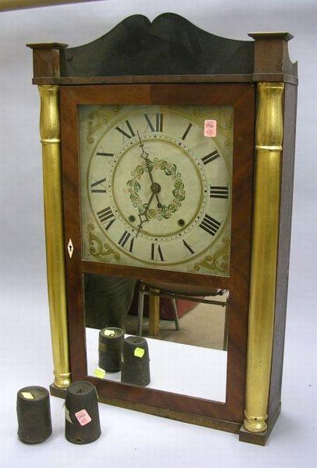 M. & E. Blakeslee Half Column and Splat Mahogany Veneered and Gilt Shelf Clock