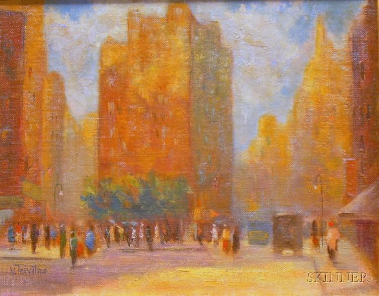 Framed Oil on Canvasboard Cityscape