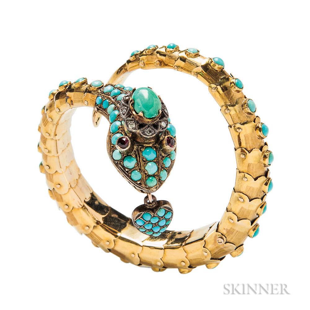 Gold and Turquoise Snake Bracelet