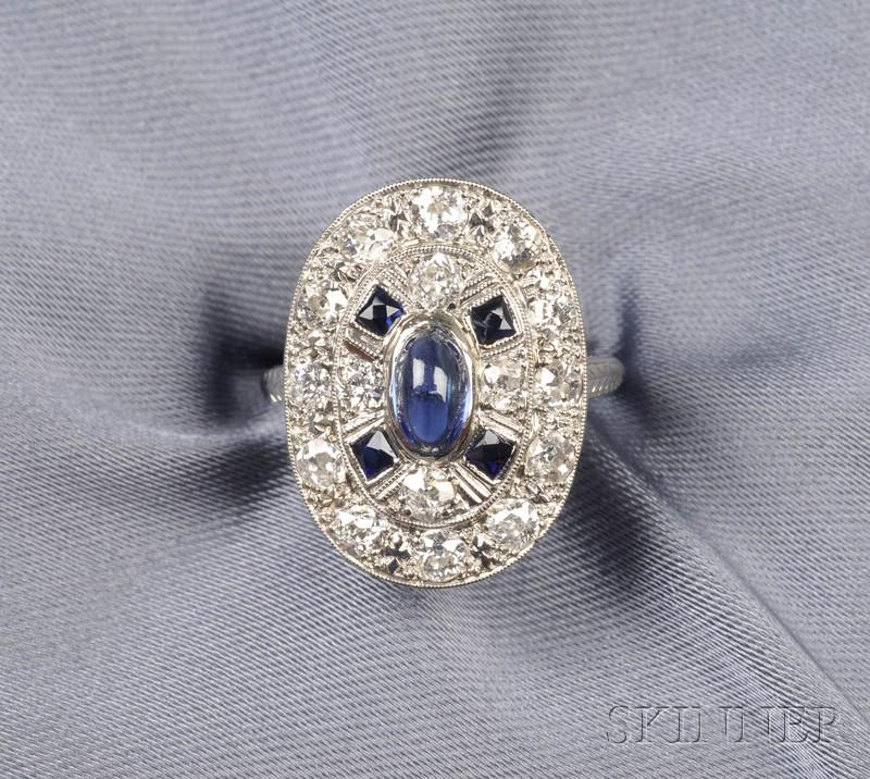 Art Deco Platinum, Synthetic Sapphire, and Diamond Ring